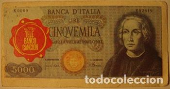 CROMOS ALBUM TELE BANCO CANCION DE ESTE 5000 LIRAS ITALIA (RECUPERADO) (Coleccionismo - Cromos y Álbumes - Cromos Antiguos)