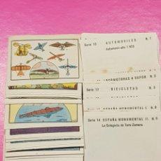 Coleccionismo Cromos antiguos: COLECCIÓN DE 112 CROMOS DE AEROPLANOS GLOBOS SUBMARINOS BARCOS AUTOMÓVILES LOCOMOTORAS BICICLETAS.... Lote 182880278