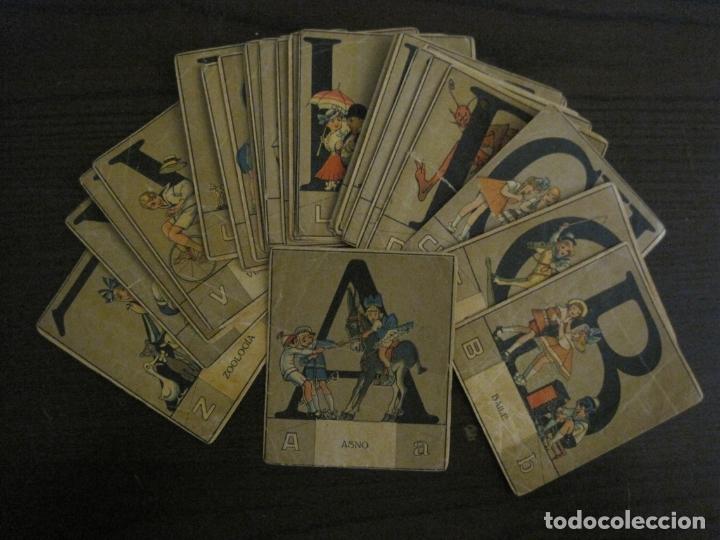 ABECEDARIO-ILUSTRADO POR OPISSO-COMPLETO 28 LETRAS-ANTIGUO ORIGINAL AÑO 1910 20-VER FOTOS(V-18.098) (Coleccionismo - Cromos y Álbumes - Cromos Antiguos)
