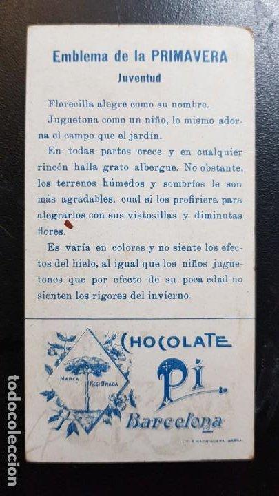 Coleccionismo Cromos antiguos: CROMO - EL LENGUAJE DE LA SOMBRILLA - CHOCOLATE PI - BARCELONA - Siglo XIX - Foto 2 - 185789710