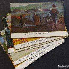 Coleccionismo Cromos antiguos: HISTORIA BATALLAS DE ESPAÑA-COL·COMPLETA 14 CROMOS-PUBLICIDAD JARABE Y VINO DESCHIENS-(V-18.784). Lote 190872596