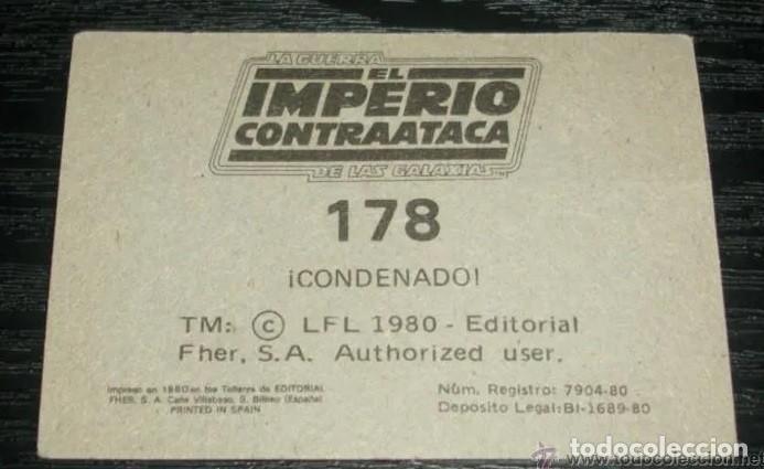 Coleccionismo Cromos antiguos: -EL IMPERIO CONTRAATACA FHER 1980 : NUMERO 178 - Foto 2 - 190937031