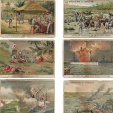 Coleccionismo Cromos antiguos: CHOCOLATES JUNCOSA - 10 CROMOS DE LA GUERRA DE CUBA. Lote 194218905