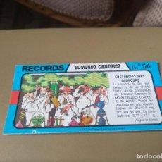 Coleccionismo Cromos antiguos: BIMBO RECORDS Nº 54. Lote 194309455
