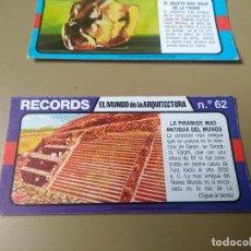 Coleccionismo Cromos antiguos: BIMBO RECORDS Nº 62. Lote 194310901