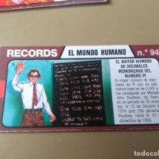 Coleccionismo Cromos antiguos: BIMBO RECORDS Nº 93. Lote 194316328