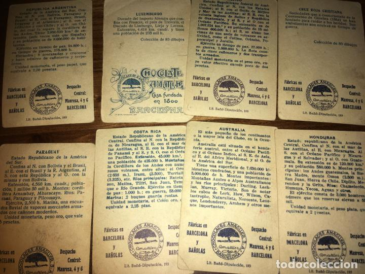 Coleccionismo Cromos antiguos: Chocolates amatller Barcelona y Bañolas, 8 cromos banderas del universo, Cruz roja,Argentina... - Foto 3 - 194357037