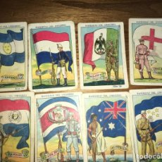 Coleccionismo Cromos antiguos: CHOCOLATES AMATLLER BARCELONA Y BAÑOLAS, 8 CROMOS BANDERAS DEL UNIVERSO, CRUZ ROJA,ARGENTINA.... Lote 194357037