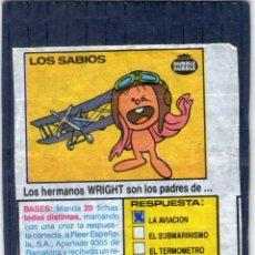Coleccionismo Cromos antiguos: CROMO - CHICLE LOS SABIOS - FLEER - DUBBLE BUBBLE - AÑO 1985.. Lote 194488136