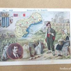 Coleccionismo Cromos antiguos: CROMO GEOGRAFÍA DE ESPAÑA Nº 42 MAPA TARRAGONA - TIPOS - REVERSO CON PUBLICIDAD DE ANÍS MADRID. Lote 194504453