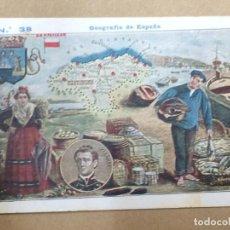 Coleccionismo Cromos antiguos: CROMO GEOGRAFÍA DE ESPAÑA Nº 38 MAPA SANTANDER - TIPOS - REVERSO CON PUBLICIDAD DE ANÍS MADRID. Lote 194505920