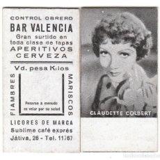 Coleccionismo Cromos antiguos: RARO CROMO. GUERRA CIVIL, CONTROL OBRERO, BAR VALENCIA UD. PESA. ACTRIZ CLAUDETTE COLBERT AA. Lote 194894587