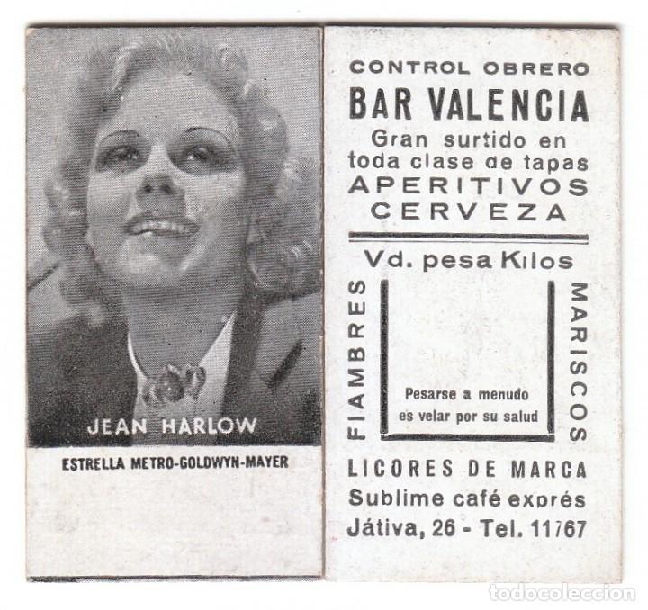 RARO CROMO. GUERRA CIVIL, CONTROL OBRERO, BAR VALENCIA UD. PESA. ACTRIZ JEAN HARLOW AA (Coleccionismo - Cromos y Álbumes - Cromos Antiguos)