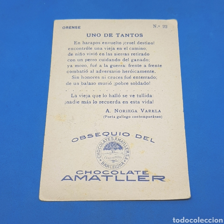 Coleccionismo Cromos antiguos: (ER.03) CROMO CHOCOLATE AMATLLER. UNO DE TANTOS. ORENSE. N°22 - Foto 2 - 194905511
