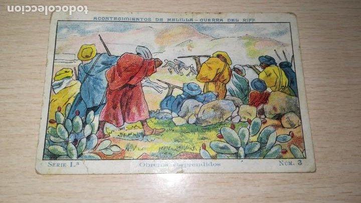 CROMO ACONTECIMIENTOS DE MELILLA-GUERRA DEL RIF.Nº 3. PUBLICIDAD CHOCOLATE PI, BARCELONA (Coleccionismo - Cromos y Álbumes - Cromos Antiguos)