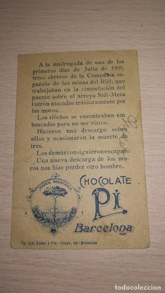 Coleccionismo Cromos antiguos: CROMO ACONTECIMIENTOS DE MELILLA-GUERRA DEL RIF.Nº 3. PUBLICIDAD CHOCOLATE PI, BARCELONA - Foto 2 - 194910652