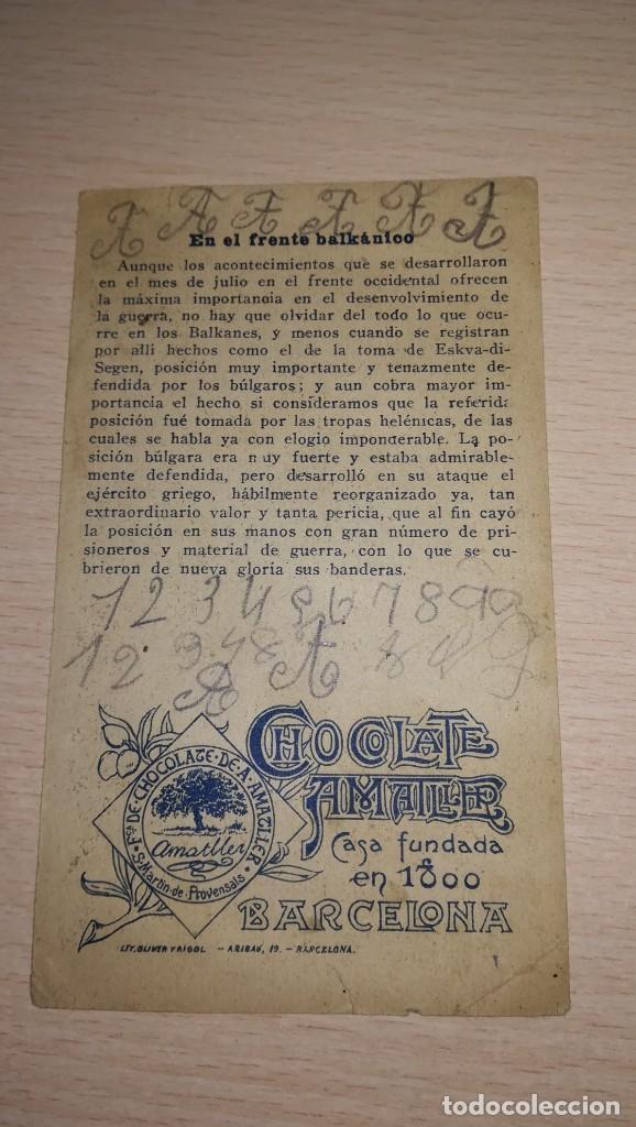 Coleccionismo Cromos antiguos: CROMO LA GUERRA EUROPEA.Nº 353. PUBLICIDAD CHOCOLATE AMSTLLER, BARCELONA - Foto 2 - 194910791