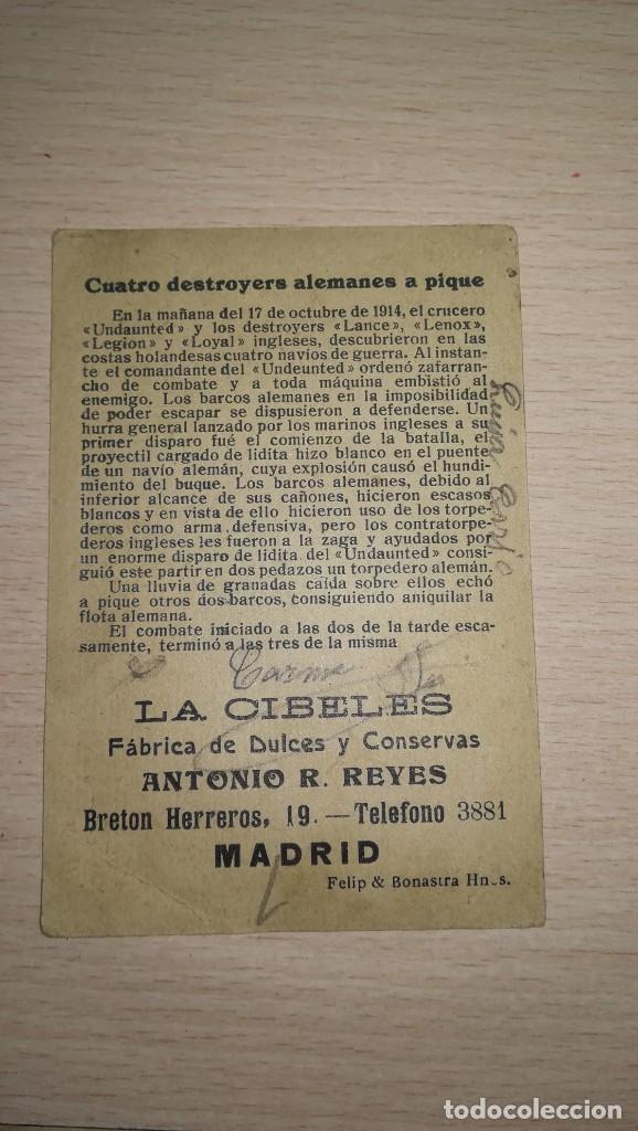 Coleccionismo Cromos antiguos: CROMO GUERRA EUROPEA.Nº 19. PUBLICIDAD FABRICA DE DULCES Y CONSERVAS LA CIBELES, MADRID - Foto 2 - 194911041