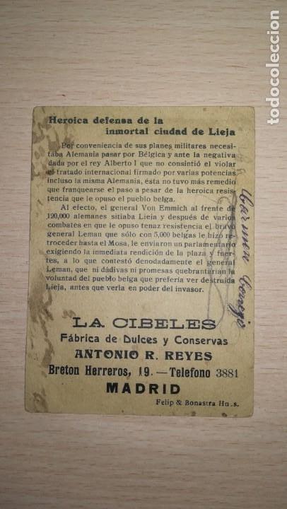 Coleccionismo Cromos antiguos: CROMO GUERRA EUROPEA.Nº 5. PUBLICIDAD FABRICA DE DULCES Y CONSERVAS LA CIBELES, MADRID - Foto 2 - 194911117