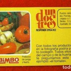 Coleccionismo Cromos antiguos: CROMO Nº 51 - UN DOS TRES - BIMBO (1976) PASTELITOS BIMBOLLOS MADALENAS - FICHA TARJETA PREGUNTA . Lote 195055136