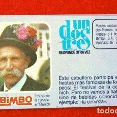 Coleccionismo Cromos antiguos: CROMO Nº 45 - UN DOS TRES - BIMBO (1976) PASTELITOS BUCANEROS - TUNOS - FICHA TARJETA PREGUNTA. Lote 195055310