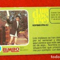 Coleccionismo Cromos antiguos: CROMO Nº 43 - UN DOS TRES - BIMBO (1976) PASTELITOS BUCANEROS - TUNOS - FICHA TARJETA PREGUNTA. Lote 195055455