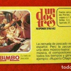Coleccionismo Cromos antiguos: CROMO Nº 41 - UN DOS TRES - BIMBO (1976) PASTELITOS BUCANEROS - TUNOS - FICHA TARJETA PREGUNTA. Lote 195055607