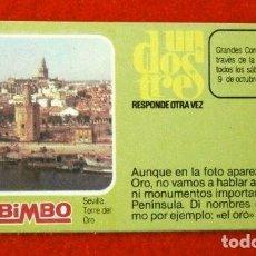 Coleccionismo Cromos antiguos: CROMO Nº 38 - UN DOS TRES - BIMBO (1976) PASTELITOS BIMBOLLOS MADALENAS - FICHA TARJETA PREGUNTA . Lote 195055925