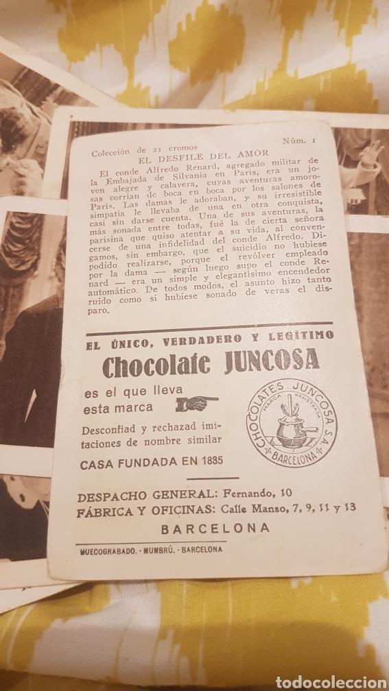 Coleccionismo Cromos antiguos: Colección entera 21 cromos chocolate juncosa el desfile del amor - Foto 3 - 195341172