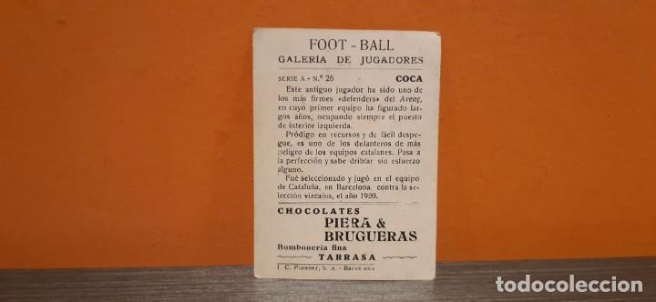 Coleccionismo Cromos antiguos: Antiguo cromo foot ball galeria de jugadores n.26 COCA - Foto 2 - 195368295