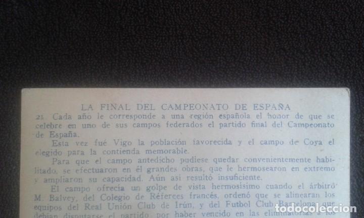 Coleccionismo Cromos antiguos: CROMO SPORTS FOOT-BALL. CHOCOLATES E.JUNCOSA. SERIE A NUM.21. LA FINAL DEL CAMPEONATO DE ESPAÑA. - Foto 7 - 195389558