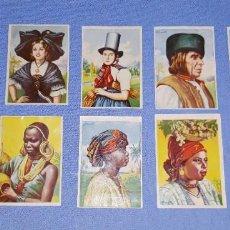 Coleccionismo Cromos antiguos: 10 CROMOS DIFERENTES ALBUM RAZAS HUMANAS PUBLICIDAD CHOCOLATES C.R.E.O. DE TORTOSA EN BUEN ESTADO. Lote 195487405