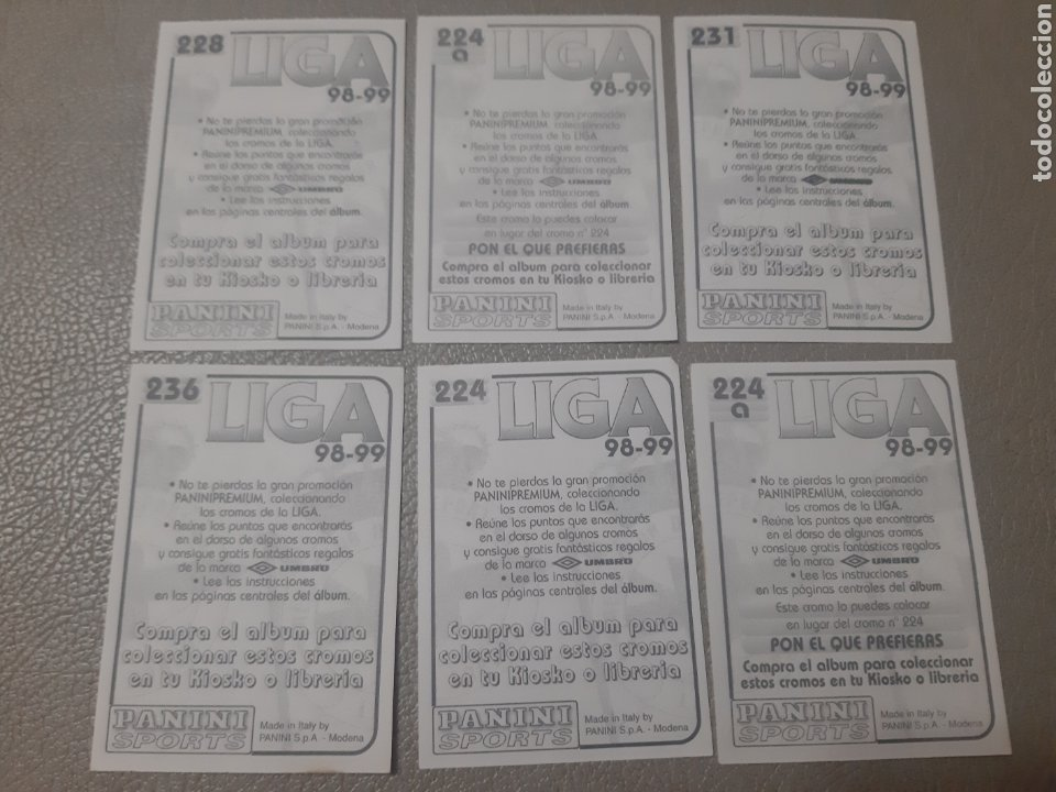 Coleccionismo Cromos antiguos: 6 Cromos Fútbol Panini Sports (Deportivo) Liga 98-99 - Foto 2 - 195645481