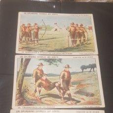 Coleccionismo Cromos antiguos: 3 CROMOS LOS EXPLORADORES BOY SCOUTS N.16, 29 Y 18 MÁS DE 100 AÑOS DE ANTIGUEDAD. Lote 196394238