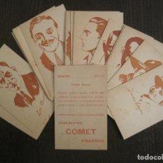 Coleccionismo Cromos antiguos: CROMO FILM-LON CHANEY...-CARICATURAS CINE-24 CR COMPLETA-CHOCOLATES COMET FIGUERES-VER FOTOS-V-19380. Lote 196794471