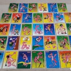 Coleccionismo Cromos antiguos: 34 X CROMO ADHESIVO PANTERA ROSA *COLECCIÓN COMPLETA* PROMO FIESTA CHICLES CARAMELOS. ORIGINAL 1988.. Lote 199824306
