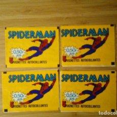 Coleccionismo Cromos antiguos: 4 SOBRES VACIOS DE SPIDERMAN - EDICION FRANCESA - BUEN ESTADO - GORBAUD. Lote 199999851