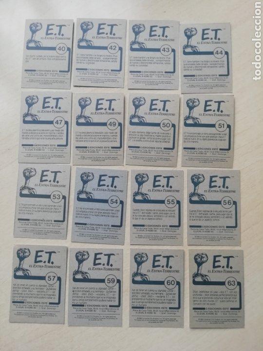 Coleccionismo Cromos antiguos: Lote 48 cromos E.T El Extraterrestre.. Ediciones Este 1982.. Distintos +1 sobre Abierto..Sin pegar.. - Foto 5 - 200813835