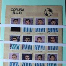 Coleccionismo Cromos antiguos: CROMOS DE FUTBOL HOJA COMPLETA. CORUÑA R.C.D. DEL ALBUM 1967 RUIZ ROMERO. TORNEOS CONTINENTALES.. Lote 202498155
