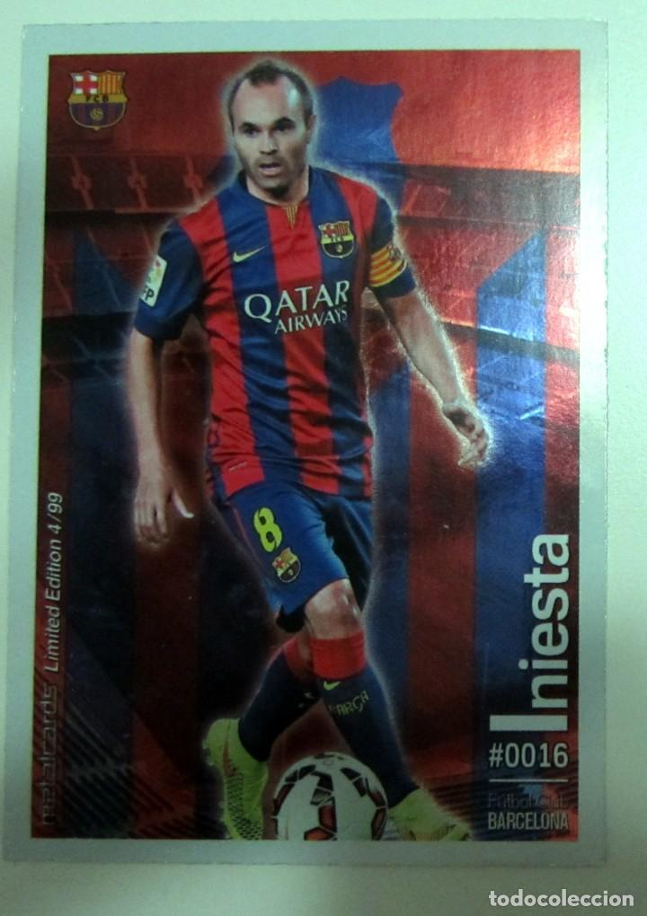 Coleccionismo Cromos antiguos: MC METALCARDS LIMITED EDITION FICHAS QUIZ LIGA 2016 BRILLANTE INIESTA PAREJO LLORENTE GAMEIRO - Foto 1 - 202845387