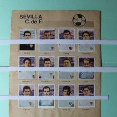 Coleccionismo Cromos antiguos: CROMOS DE FUTBOL HOJA COMPLETA. SEVILLA CLUB DE FUTBOL, DEL ALBUM AÑO 1967 DE RUIZ ROMERO. VER FOTOS. Lote 203286737
