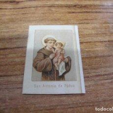 Coleccionismo Cromos antiguos: CURIOSO CROMO ESTAMPA RELIGIOSA MEDIDA 34 X 47 MM SAN ANTONIO DE PADUA. Lote 205649777