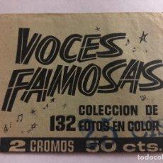 Coleccionismo Cromos antiguos: SOBRE CROMOS SIN ABRIR VOCES FAMOSAS IBERO MUNDIAL CONTIENE LOS CROMOS. Lote 206380681