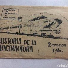 Coleccionismo Cromos antiguos: SOBRE CROMOS SIN ABRIR HISTORIA DE LA LOCOMOTORA EDITORIAL TORAY CONTIENE LOS CROMOS. Lote 206381775
