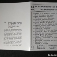 Coleccionismo Cromos antiguos: SERIE CROMOS DE ARTE CEDOSA / L. DOMÍNGUEZ - RENACIMIENTO III - 20 CROMOS. Lote 207424627