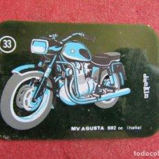 Coleccionismo Cromos antiguos: MOTOS DUNKIN CROMO PLÁSTICO Nº 33 MOTO MV AGUSTA 592 CC. Lote 209291266