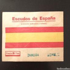Coleccionismo Cromos antiguos: ESCUDOS DE ESPAÑA SOBRE SIN ABRIR (ZAMORA) MUY RARA COLECCIÓN. Lote 209689040