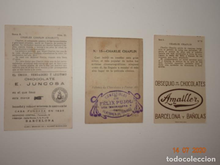 Coleccionismo Cromos antiguos: LOTE DE 3 CROMOS DE CHARLIE CHAPLIN (CHARLOT) - ARTISTAS CINEMATOGRAFICOS - Foto 2 - 212523128