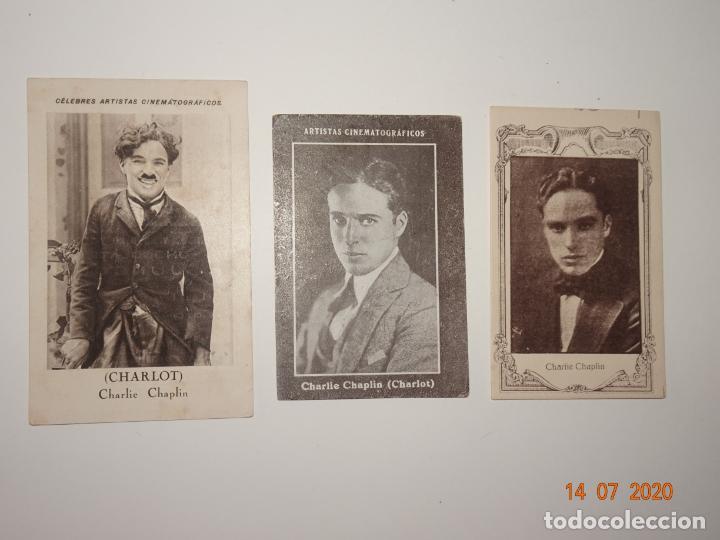 LOTE DE 3 CROMOS DE CHARLIE CHAPLIN (CHARLOT) - ARTISTAS CINEMATOGRAFICOS (Coleccionismo - Cromos y Álbumes - Cromos Antiguos)