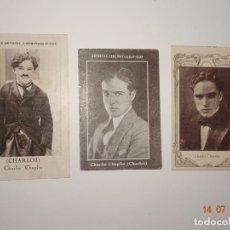 Coleccionismo Cromos antiguos: LOTE DE 3 CROMOS DE CHARLIE CHAPLIN (CHARLOT) - ARTISTAS CINEMATOGRAFICOS. Lote 212523128
